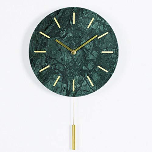 Mármol Reloj de Pared Báscula Digital Mute Batería Powered Reloj Verde Decoración de Interiores Reloj de péndulo silencioso 10 Pulgadas (Color : A)