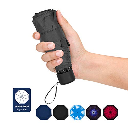 Travel Umbrella - Compact Umbrella 8 Ribs Portable Sun&Rain Lightweight Windproof Umbrella with 95% UV Protection for Men Women Kids