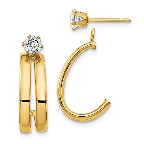 14ct gele gouden Post oorbellen gepolijst met zirkonia Stud oorbellen jassen