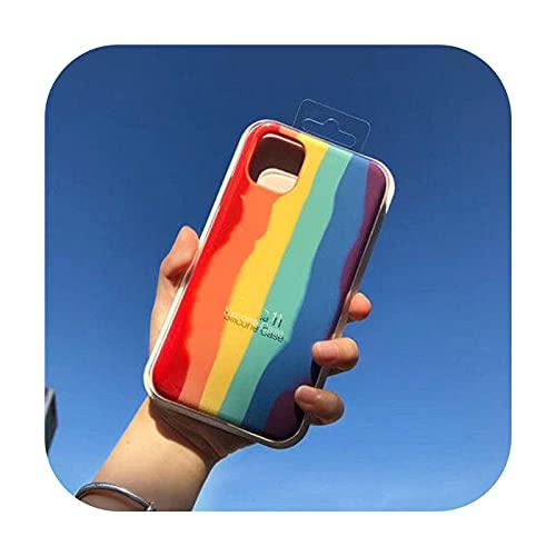 Funda de lujo degradado arco iris para iPhone 12 Pro Max 11 6s 7 8 Plus X XS MAX XR Mini original oficial silicona teléfono cubierta-arco iris para 7Plus 8Plus