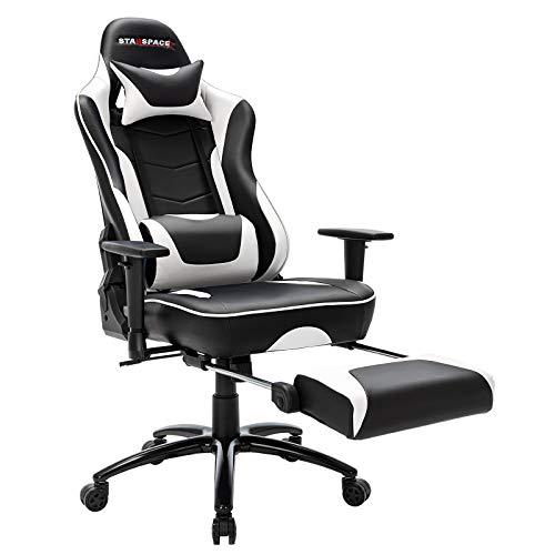 STARSPACE Ergonomischer Computer-Gaming-Stuhl, Massage, Lendenwirbelstütze, ausziehbare Fußstütze, Drehgelenk, hohe Rückenlehne, PC-Schreibtischstuhl, Weiß