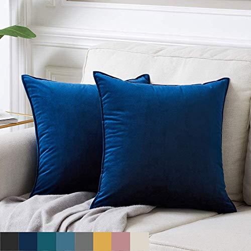 DAOXU 45x45 Funda de cojín de Terciopelo para Ropa de Cama, Paquete de 2, Funda de Almohada Decorativa para sofá y Funda de sofá (Azul Marino, 45x45cm(2pcs))