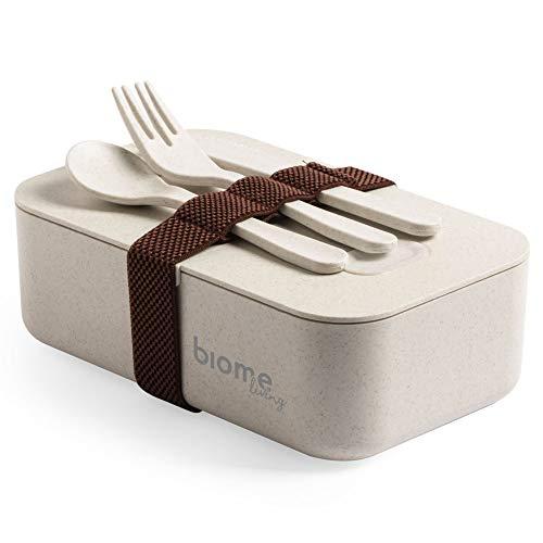 Biome Living Bento Box - Fiambrera de bambú con tapa hermética, fiambrera con 3 cubiertos y separador interior, 1000 ml, apta para microondas y lavavajillas