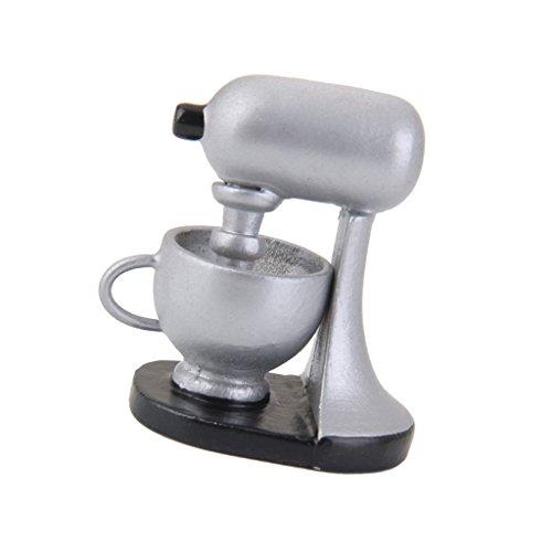 FLAMEER 1:12 Puppenhaus Miniatur Kaffeemaschine & Kaffeetasse Modell aus Holz, Silber & Schwarz