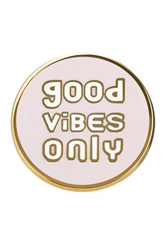 likalla Statement Pin Anstecker Button GOOD VIBES ONLY, gold-plattiert, hochwertige Hartemaille zweifarbig rosa und weiß. Girlie Brosche zum Anstecken.