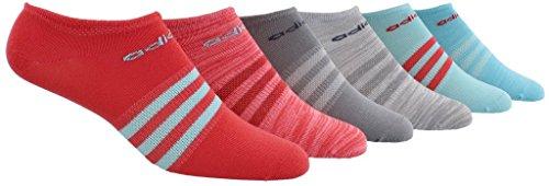 adidas Women's Superlite No Show Socks (6 Pack), Core Pink/Clear Aqua/Core Pink,Women's Sock size (5-10)
