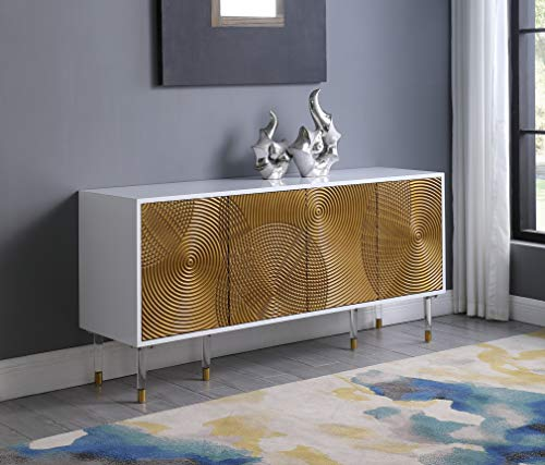 Best Master Furniture T1952 Tula High Gloss Lacquer Sideboard/Buffet with Golden Door Panels, White