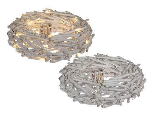 MC Trend Weidenkranz Advent-Kranz Weiss 35 LED Lämpchen batteriebetrieben Tisch Tür Deko ca.30 x 8 cm