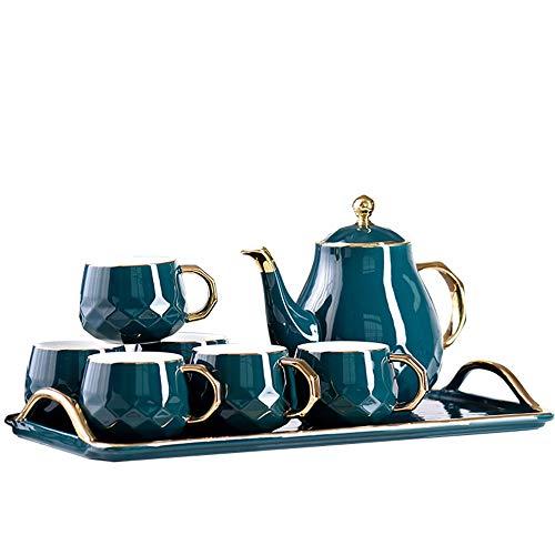 Emerald ceramica Acqua fredda Ware Bollitore Afternoon Tea Set Teiera Teacup del salone della casa con vassoio