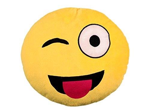 TrendandStylez Emoticon Emoji-Con Lach Smiley Kissen Dekokissen Stuhlkissen Sitzkissen gelb rund (Zunge Raus - 13)