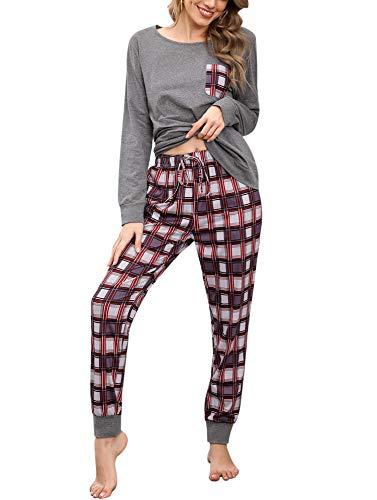 Pijamas Mujer Conjunto de Pijama a Cuadros para Dama Pjs Top Ropa de Dormir Camisa y Pantalones con Bolsillo Manga Larga Soft Lounge Sets Ropa de Cama Loungewear (B# Gris, 2XL)