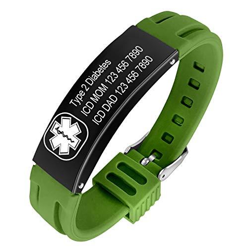 Pulsera Hombre Mujer de Alarma médica de Acero Inoxidable con Grabado Personalizado Pulseras de identificación de Silicona Ajustable Impermeable (Dark Green 1)