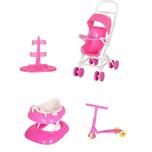 sevenjuly La muñeca de Juguete Juego de casa de muñecas Accesorios con el Cochecito de bebé Walker Vespa muñeca Soporte para la muñeca de Juguete muñecas, Equipo al Aire Libre