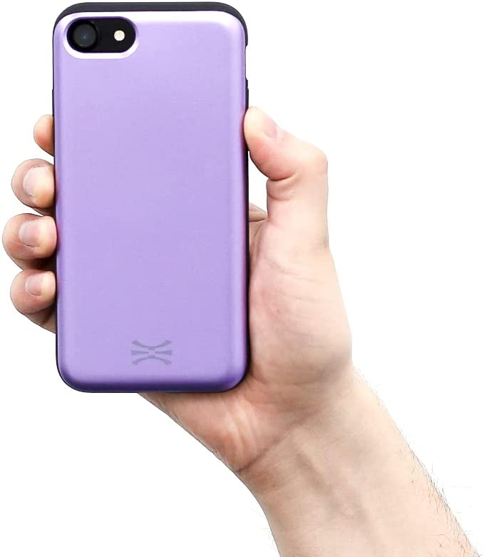 TORU CX Slide Compatible with iPhone SE 2020/iPhone 8/iPhone 7 Card Case - Protective TPU Bumper & Purple Hard Cover Dual Layer Slim Hidden Card Holder Slot Wallet - Lavender