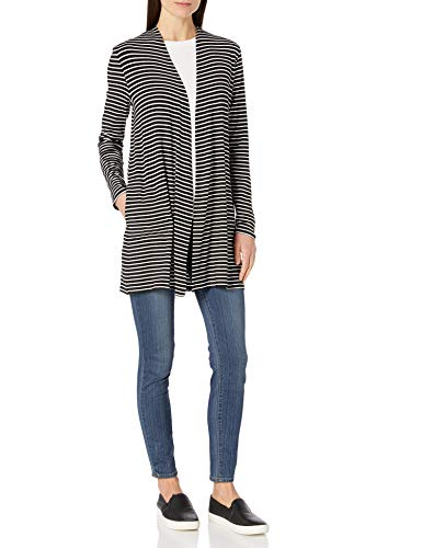 Amazon Essentials Long-Sleeve Open-Front Cardigan-Sweaters, Schwarz/Weiß gestreift, US (EU XS-S)