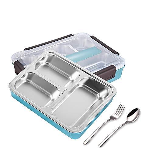 Auslaufsichere Bento-Box, Quadratische Bento-Box, Tragbare Versiegelte Bento-Box, Lunchbox mit Fächern, Isolierte Bento-Box, mit Gabel und Löffel (Blau, 3 Zellen)