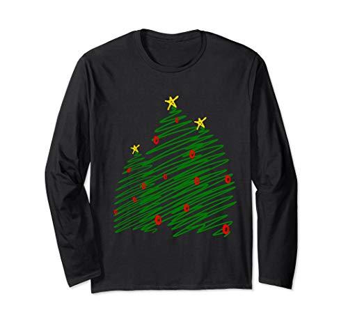 Drei kluge Bäume Weihnachtsbaum-Skizzen-Kunst Langarmshirt