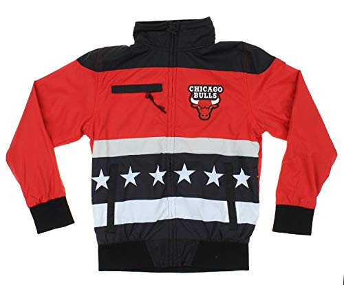 Chicago Bulls NBA Big Boys Stars & Stripes Full Zip Track Jacket, Black/Red (Large 14-16)
