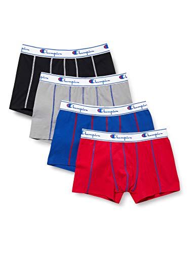 Champion Herren Boxer Coton X4 Boxershorts, Mehrfarbig (Rouge/Bleu ROI/Gris/Noir 9o3), Medium (4er Pack)