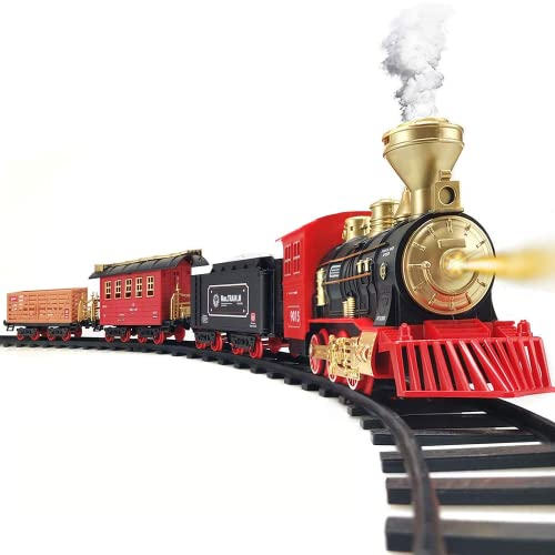Hot Bee Train Set - Electric Train Toy for Boys Girls w/ Smokes, Lights & Sound, Railway Kits w/ Steam Locomotive Engine, Cargo Cars & Tracks, Christmas Gifts for 3 4 5 6 7 8+ year old Kids