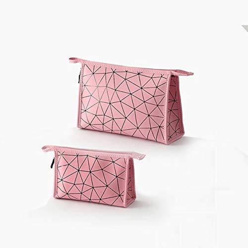 PoplarSun Mode féminine PU composent Les Femmes Sac Organisateur Sac de Voyage Maquillage Trousse de Toilette Cas Sac cosmétique (Color : Pink, Size : L)