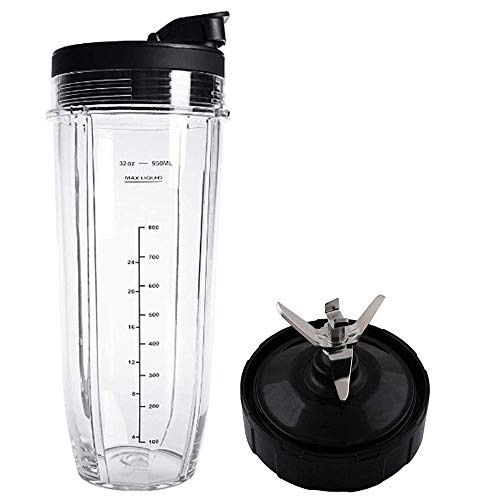 Flip Top to-go Lid and 32OZ Cup and 7 Fins Blade for Compatible with Nutri Ninja Auto IQ 1000W Blender Accessories Replacement Parts BL482 BL480-30 BL482-30 BL682