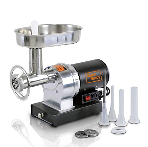 SuperHandy Meat Grinder Sausage Stuffer Electric #8 1/2 HP 480LBS Per/Hour 370 Watts Heavy Duty Commercial Stainless Steel Body Cutlery Blade Tray Grinding Plates & Stuffing Tubes Stomper Storage Box