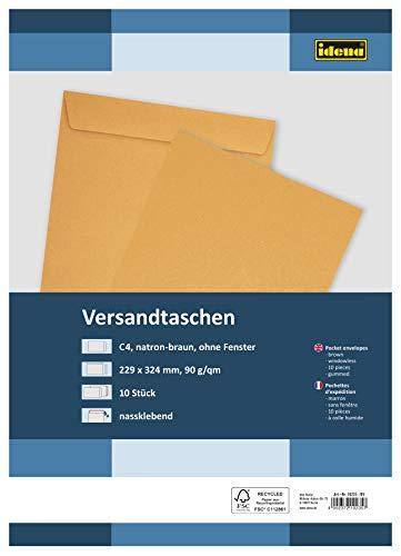 Idena 10235 - Versandtasche C4, 90 g/m², nassklebend, ohne Fenster, braun, 10 Stück