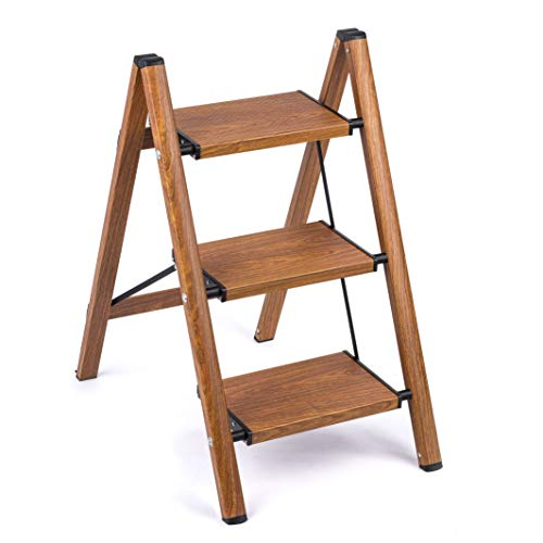3 Step Stool Ladder Woodgrain Shelf Aluminum Lightweight Folding with AntiSlip and Wide Pedal for Home and Kitchen Space Saving