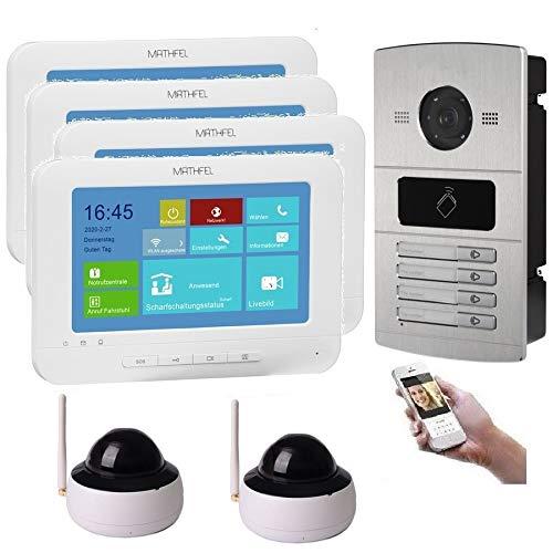 WLAN 4 Familienhaus IP Video Türsprechanlage, Unterputz-Türstation IP65, 7 Zoll Monitor, HD-Kamera 130°, Foto-/Video-Speicher, PoE-Switch, Größe: 2X Kamera