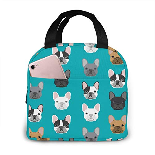 antfeagor Portable Lunch Tote Bag Cute French Bulldogs Lunch Bag Insulated Cooler Thermal Reusable Bag Lunch Box Handbag Bags for Women/Picnic/Boating/Beach/Fishing/Work