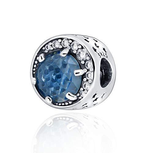 QIAMUCJC Plata de Ley 925Nuevas Cuentas Luna Noche Cielo Azul encantos se Ajustan a la Pulsera Pandora Original Mujeres DIY JewelryTrinkets