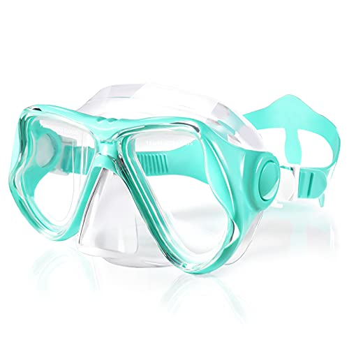 Keary Swimming Goggles Snorkel Diving Mask Scuba Snorkeling Gear for Adult Men Women Youth, Anti-Fog 180° Wide View Soft Silicone Skirt Pool Underwater Swim Goggles with Nose Cover, Snorkel Equipment