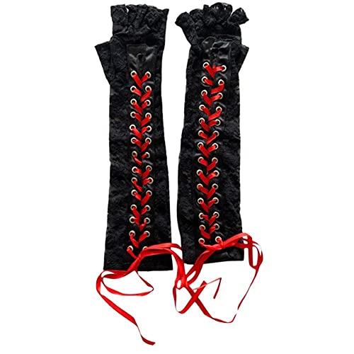Modis Guantes largos de encaje invierno codo longitud medio dedo guantes cinta sin dedos malla etiqueta regalo fiesta guantes