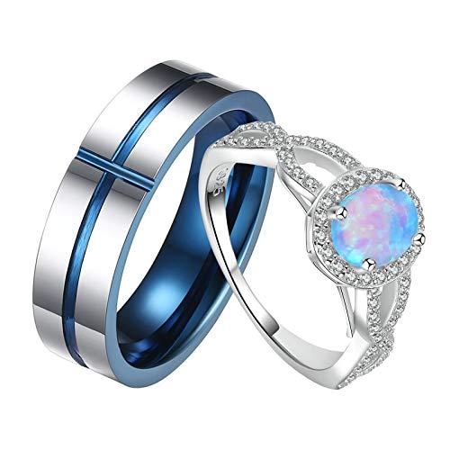 ANAZOZ 2 Stücke Paarringe 925 Silber Paar Ring mit Gravur 6mm Edelstahl Herrenring Namensgravur Verlobungsringe Trauring Ehering Damen Größe 54 (17.2) & Herren Größe 60 (19.1)