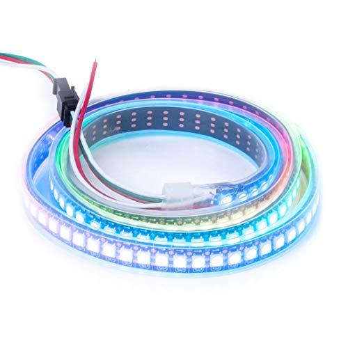 BTF-LIGHTING WS2812E Alambres de aleación ECO RGB 5050SMD Direccionable individual 3.3FT 144 píxeles/m PCB negro flexible Full Color LED Píxel tira LED Sueño Color IP67 impermeable DC5V