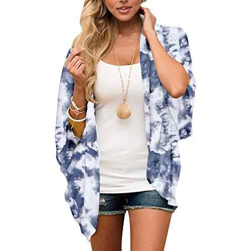 Gebell Kimono - Kimono de gasa floral para mujer, estilo kimono, para la playa o la playa, manga 3/4, estilo bohemio, blusa para verano, ligera, ropa de playa gris M