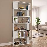 N/O Viel Spaß beim Einkaufen mit Bücherregal/Raumteiler Hochglanz-Weiß 80×24×192 cm Spanplatte