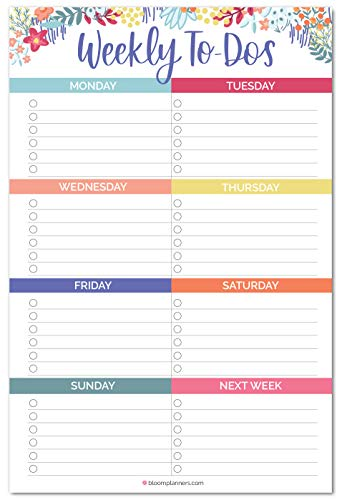 bloom daily planners Undated Weekly Tear-Off to Do List Planning Pad with Magnets - Hanging Notepad Organizer for Fridge - 6� x 9� - Floral Dots