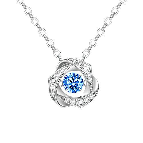 MKFY 'Amor Loco' Collar con Colgante Azul, Collar de Joyería de Plata de ley 925 para Mujer, es el Colgante de Cumpleaños y...