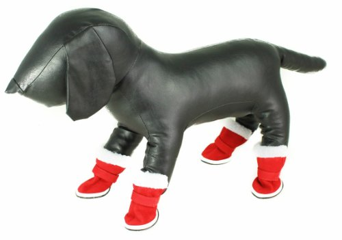 Rouge de Père Noël Père Noël/Fluffy Blanc Chaussons en polaire et semelle en caoutchouc antidérapant pour petites races de chien