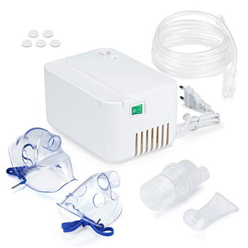 SDFZH Inhalator Vernebler mit Kompressor Inhaliergerät mit Mundstück für Erwachsene und Kinder bei Atemwegserkrankungen Erkältungen oder Asthma mit Extra viel Zubehör