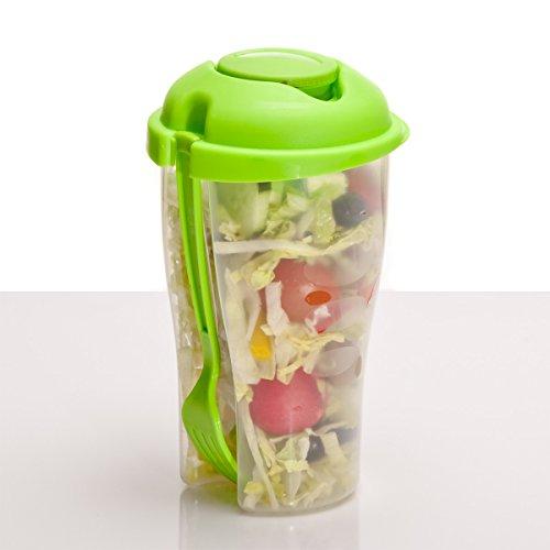 Salade-to-go beker met dressinghouder, saladecup 2 go voor onderweg