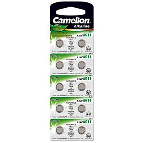 10 Stk. (1 Blister) Camelion 0%HG Alkaline 1,5V Knopfzellen Uhren-Batterien AG11, 162, 361, 362, SR721, LR721