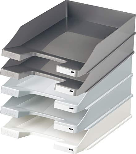 Han Briefablage A4 (1 Karton 10 Stück, Shades of Grey) je 4x dunkelgrau und hellgrau, 2x weiß