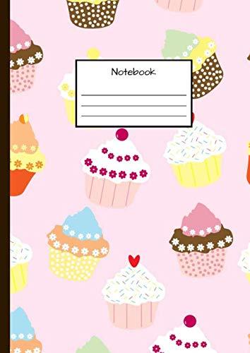 Notebook: Notizbuch DIN A4 - Kladde kariert 5 mm - 110 Seiten - Notizheft, Tagebuch, Schreibbuch - Muster von Cupcakes, Muffins, Kuchen