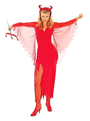 EVRYLON Costume Diavolo Donna Ragazza Vestito Carnevale Sexy Demone Infernale Sexy Colore Rosso Adulti Taglia M Travestimento Halloween Cosplay Ottimo Come Regalo per Natale o Compleanno