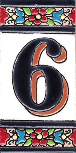 TORO DEL ORO Números casa. Numeros y Letras en azulejo Ceramica esmaltada, Pintados a Mano técnica Cuerda Seca. Nombres y direcciones. Diseño Flor Mediana 5,5x10,5 cm (Número seis'6')