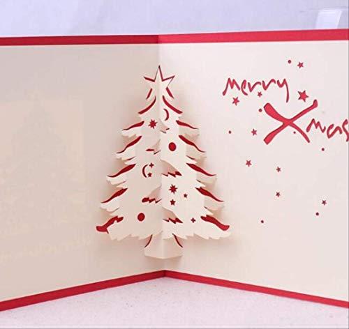 2 Piezas De Árbol De Navidad Hecho A Mano Kirigami Origami 3D Tarjetas De Felicitación Postal De Invitación Fiesta De Navidad Festival Regalo De Negocios 15X15 Cm