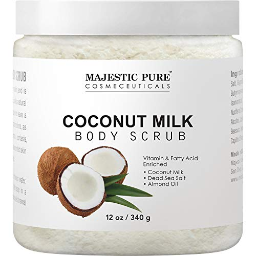 Majestic Pure Coconut Milk Body Scrub, Anti Cellulite & Exfoliator,...